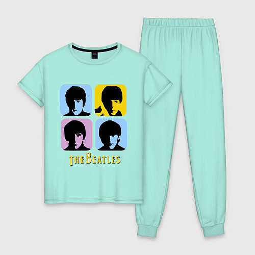 Женская пижама The Beatles: pop-art / Мятный – фото 1
