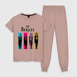 Пижама хлопковая женская Walking Beatles цвета пыльно-розовый — фото 1