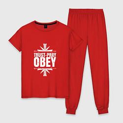 Пижама хлопковая женская Trust pray Obey цвета красный — фото 1