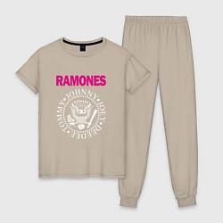 Пижама хлопковая женская Ramones Boyband цвета миндальный — фото 1