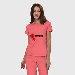 Пижама хлопковая женская I love zombies цвета коралловый — фото 2