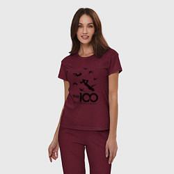 Пижама хлопковая женская The 100 цвета меланж-бордовый — фото 2