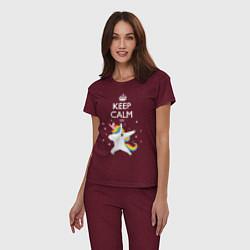 Пижама хлопковая женская Keep Calm & Dab Unicorn цвета меланж-бордовый — фото 2