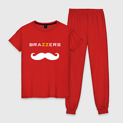 Пижама хлопковая женская Brazzers Mister цвета красный — фото 1