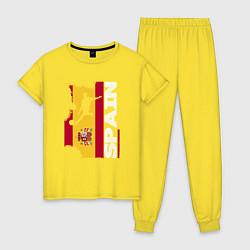 Пижама хлопковая женская Spain Football цвета желтый — фото 1