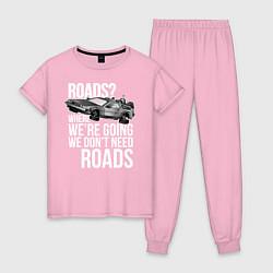 Пижама хлопковая женская We don't need roads цвета светло-розовый — фото 1