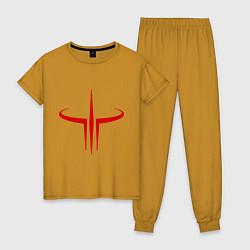 Пижама хлопковая женская Quake logo цвета горчичный — фото 1