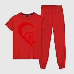 Пижама хлопковая женская One love: for his цвета красный — фото 1