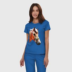 Пижама хлопковая женская Лошадь цвета синий — фото 2