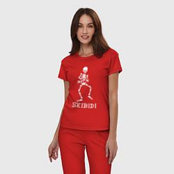 Пижама хлопковая женская Little Big: Skibidi цвета красный — фото 2