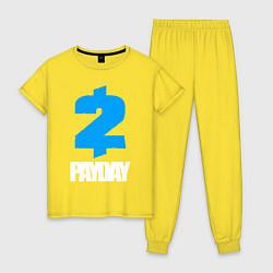 Пижама хлопковая женская PAYDAY 2 цвета желтый — фото 1