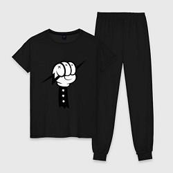 Пижама хлопковая женская Volt Hand цвета черный — фото 1