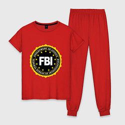 Пижама хлопковая женская FBI Departament цвета красный — фото 1