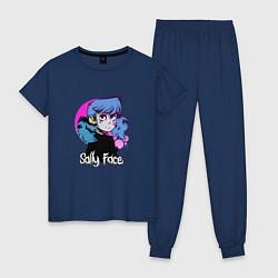 Пижама хлопковая женская Sally Face цвета тёмно-синий — фото 1