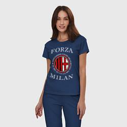 Пижама хлопковая женская Forza Milan цвета тёмно-синий — фото 2