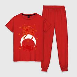 Пижама хлопковая женская Gojira: Evil Demon цвета красный — фото 1