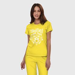 Пижама хлопковая женская Miss May I: Angry Lion цвета желтый — фото 2