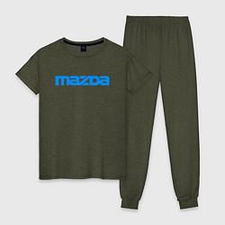 Пижама хлопковая женская MAZDA цвета меланж-хаки — фото 1