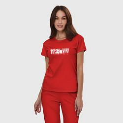 Пижама хлопковая женская ESCAPE FROM TARKOV цвета красный — фото 2