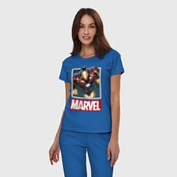 Пижама хлопковая женская Iron Man: Mark III цвета синий — фото 2
