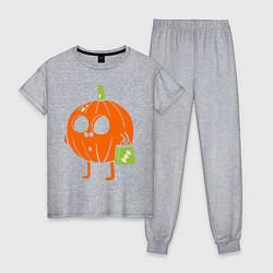 Пижама хлопковая женская Тыква с пакетом цвета меланж — фото 1