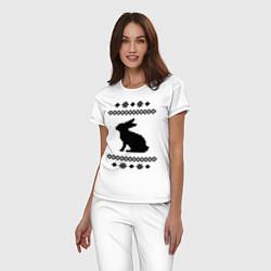 Пижама хлопковая женская Узор с зайцем цвета белый — фото 2