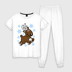 Пижама хлопковая женская Олень и снежинки цвета белый — фото 1