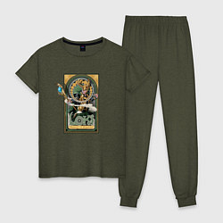 Пижама хлопковая женская Loki Art nouveau цвета меланж-хаки — фото 1