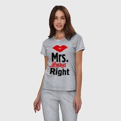 Пижама хлопковая женская Mrs. always right цвета меланж — фото 2