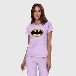 Пижама хлопковая женская Batman цвета лаванда — фото 2