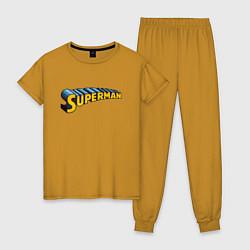 Пижама хлопковая женская Superman цвета горчичный — фото 1