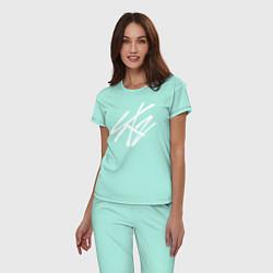 Пижама хлопковая женская Stray Kids цвета мятный — фото 2