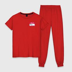 Пижама хлопковая женская Regina Phalange цвета красный — фото 1