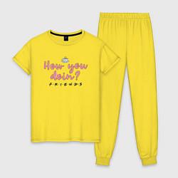 Пижама хлопковая женская How you doin? цвета желтый — фото 1