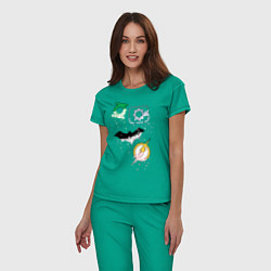 Пижама хлопковая женская Логотипы Justice League цвета зеленый — фото 2