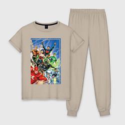 Пижама хлопковая женская Лига Справедливости цвета миндальный — фото 1