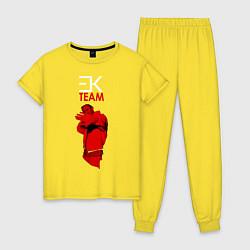 Пижама хлопковая женская ЕГОР КРИД цвета желтый — фото 1