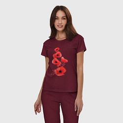 Пижама хлопковая женская Маки цвета меланж-бордовый — фото 2