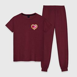 Пижама хлопковая женская Harley Quinn in heart цвета меланж-бордовый — фото 1
