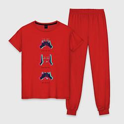 Пижама хлопковая женская RSB цвета красный — фото 1