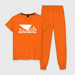 Пижама хлопковая женская BADBOY цвета оранжевый — фото 1