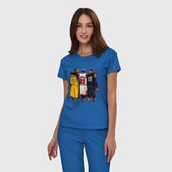 Пижама хлопковая женская Bryant, Jordan, James цвета синий — фото 2