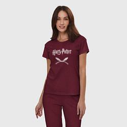 Пижама хлопковая женская Гарри Поттер цвета меланж-бордовый — фото 2