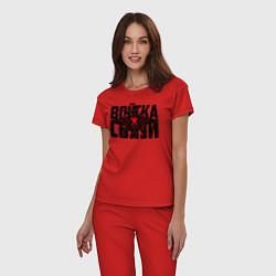 Пижама хлопковая женская Войска связи цвета красный — фото 2