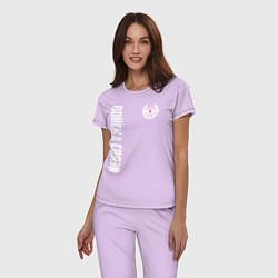 Пижама хлопковая женская Войска связи цвета лаванда — фото 2