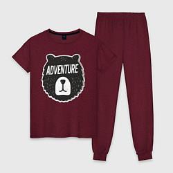 Пижама хлопковая женская Bear Adventure цвета меланж-бордовый — фото 1