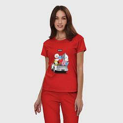 Пижама хлопковая женская BT21 цвета красный — фото 2