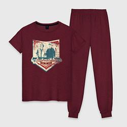 Пижама хлопковая женская Join The Hunt цвета меланж-бордовый — фото 1