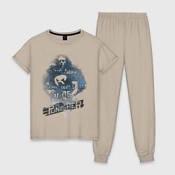 Пижама хлопковая женская The Punisher цвета миндальный — фото 1