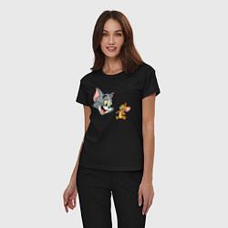 Пижама хлопковая женская Tom & Jerry цвета черный — фото 2